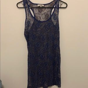 Racer back lace dress with removable slip